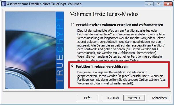 Partition in-place verschluesseln